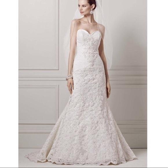 Oleg Cassini Dresses | Crl227 Beaded Trumpet Wedding Gown | Poshmark